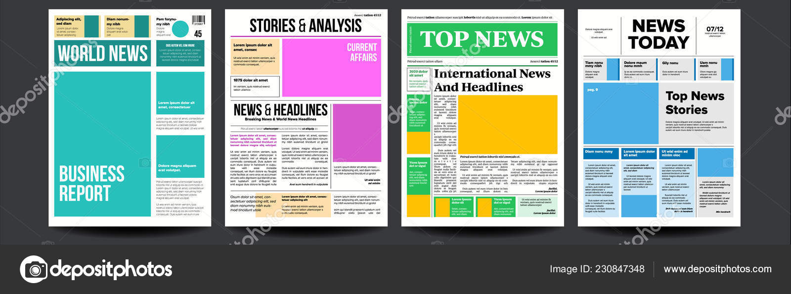 Newspaper Cover Set Vector  Paper Tabloid Design  Daily