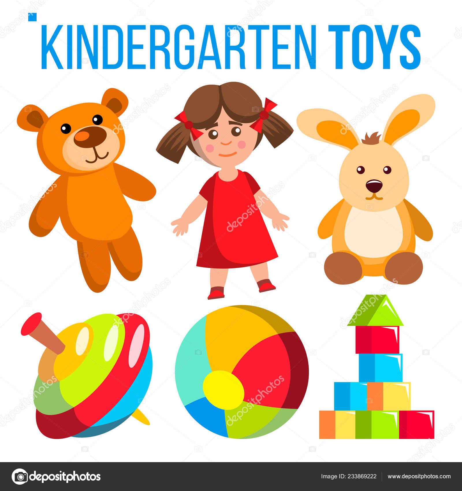 Jardín de infantes Vector Set de juguetes. Artículos coloridos para ...