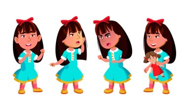 Asian Girl Kindergarten Kid Poses Set Vector. Preschool. Young Positive Person. Beauty. For Banner, Flyer, Brochure Design. Isolated Cartoon Illustration