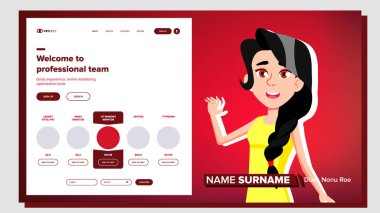 Self Presentation Vector. Caucasian Feamle. Introduce Yourself Or Your Project, Business. Illustration