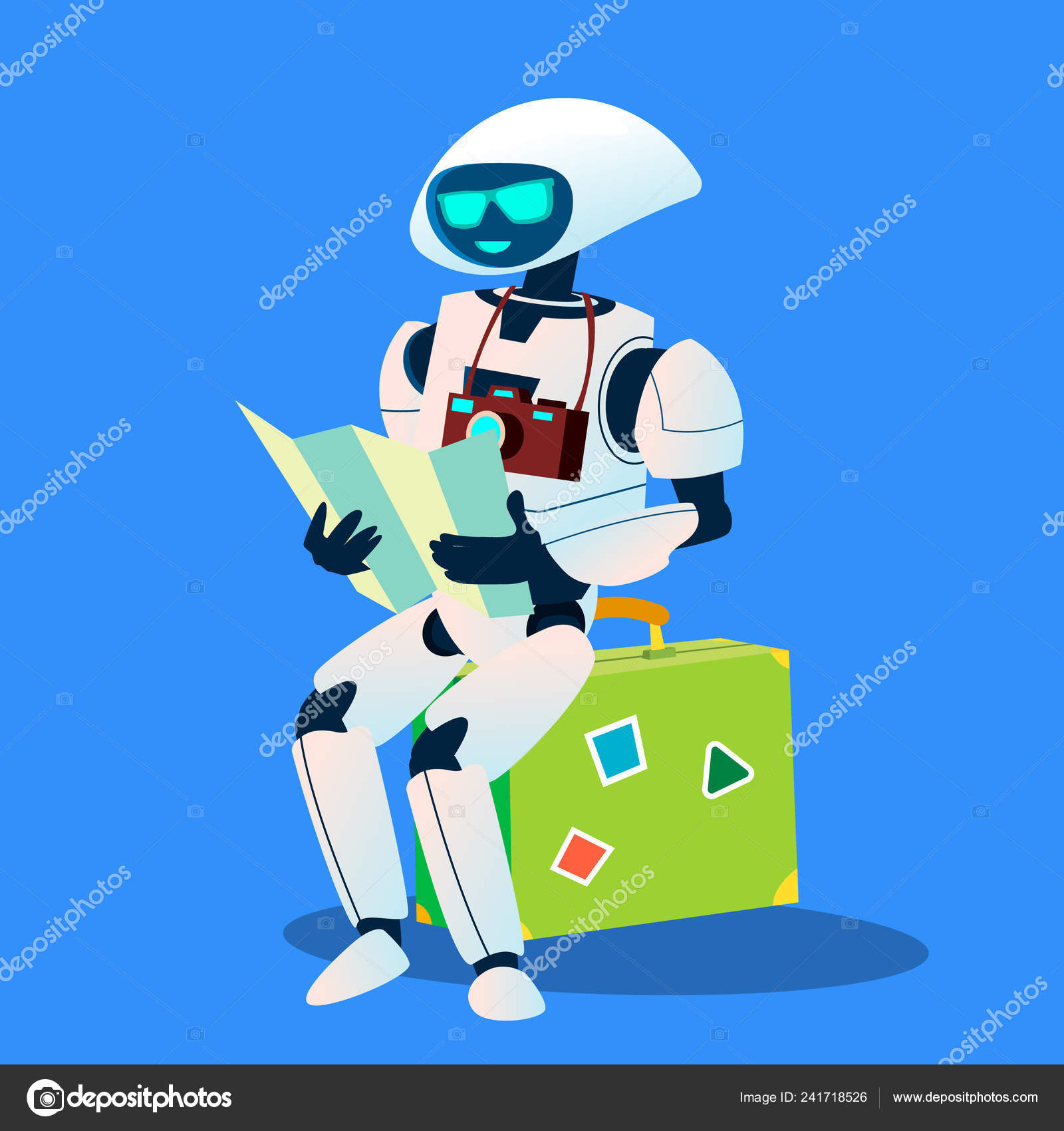Tourist Robot With Camera And Map Vector  Isolated