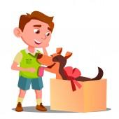 Fényképek Boldog kisfiú veszi ki ajándék doboz egy kutya vektor. Elszigetelt illusztráció