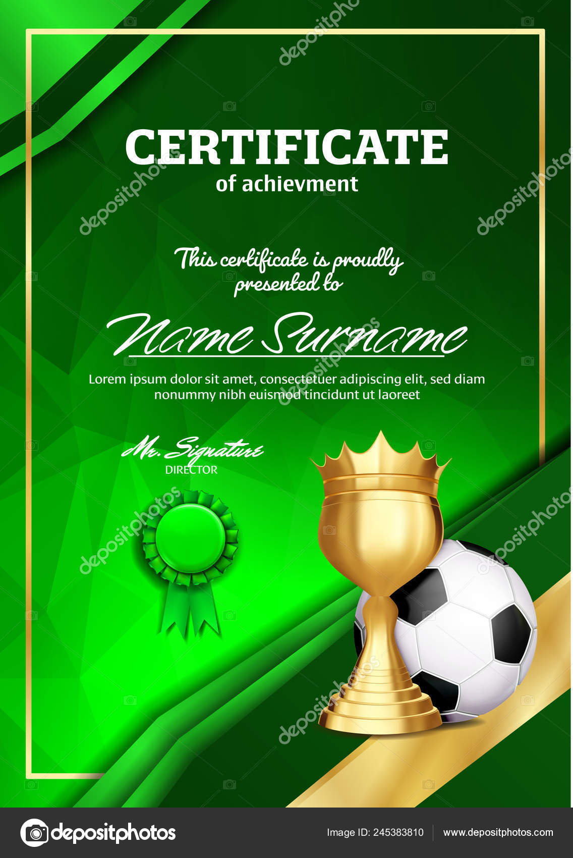 Soccer Certificate Diploma With Golden Cup Vector Football