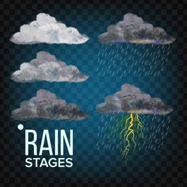 Rain Stages Vector. Cloud, Storm. Weather Icon Realistic Transparent Illustration clip art vector