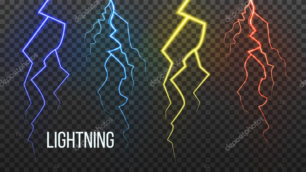 Lightning Vector. Storm Flash Thunder. Electric Power. Realistic Isolated Transparent Illustration