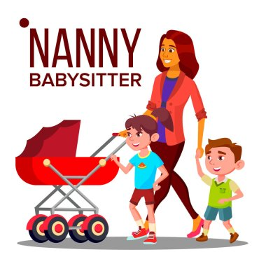 Nanny Woman Vector. Babysitter Nanny With Children. Care Family Design. Illustration
