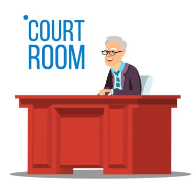 Courtroom Vector. Old Judge In Courtroom. Court House. Illustration