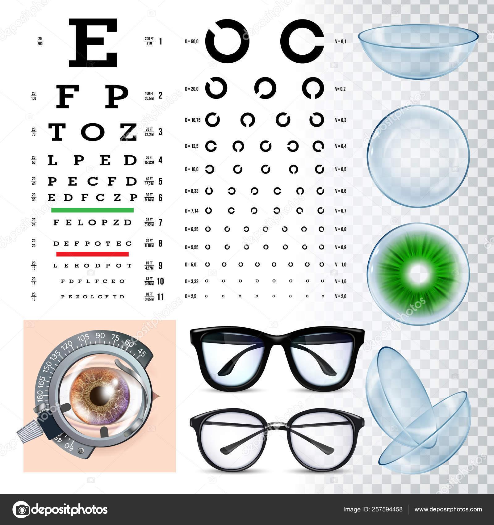 Ophthalmology Tools, Sight Examination Equipment Vector Set — Stock