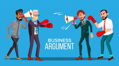 Business Argument Web Banner Cartoon Vector Template