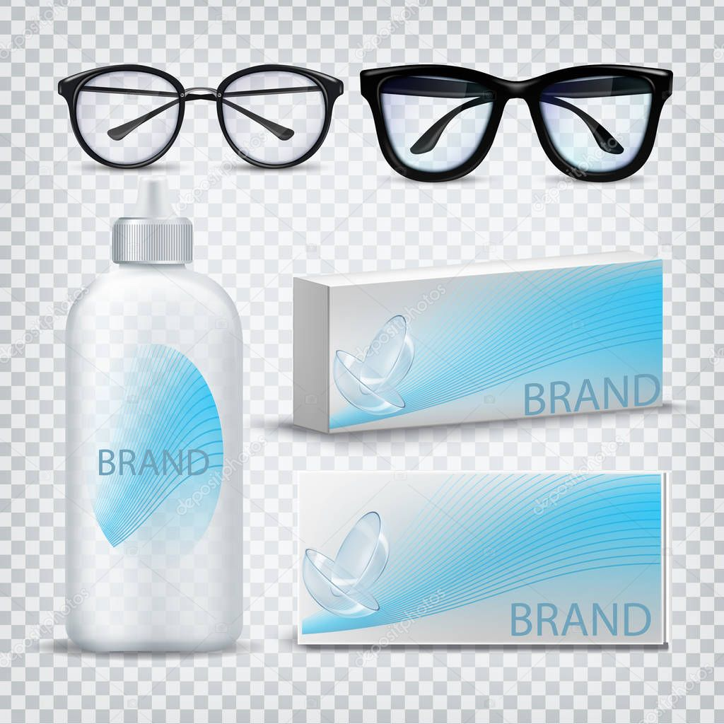 Optical Glasses And Contact Lenses Set Vector