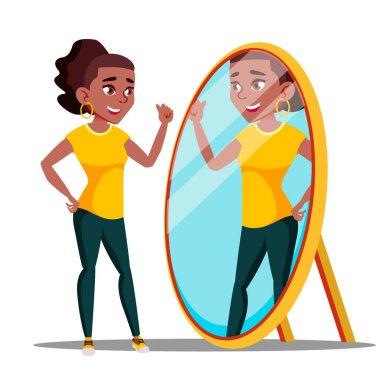 """Картина, постер, плакат, фотообои """"характерная женщина смотрит в зеркало и восхищается вектором зеркало раме зеркала настенное круглые настенные декоративные"""", артикул 262158864"""