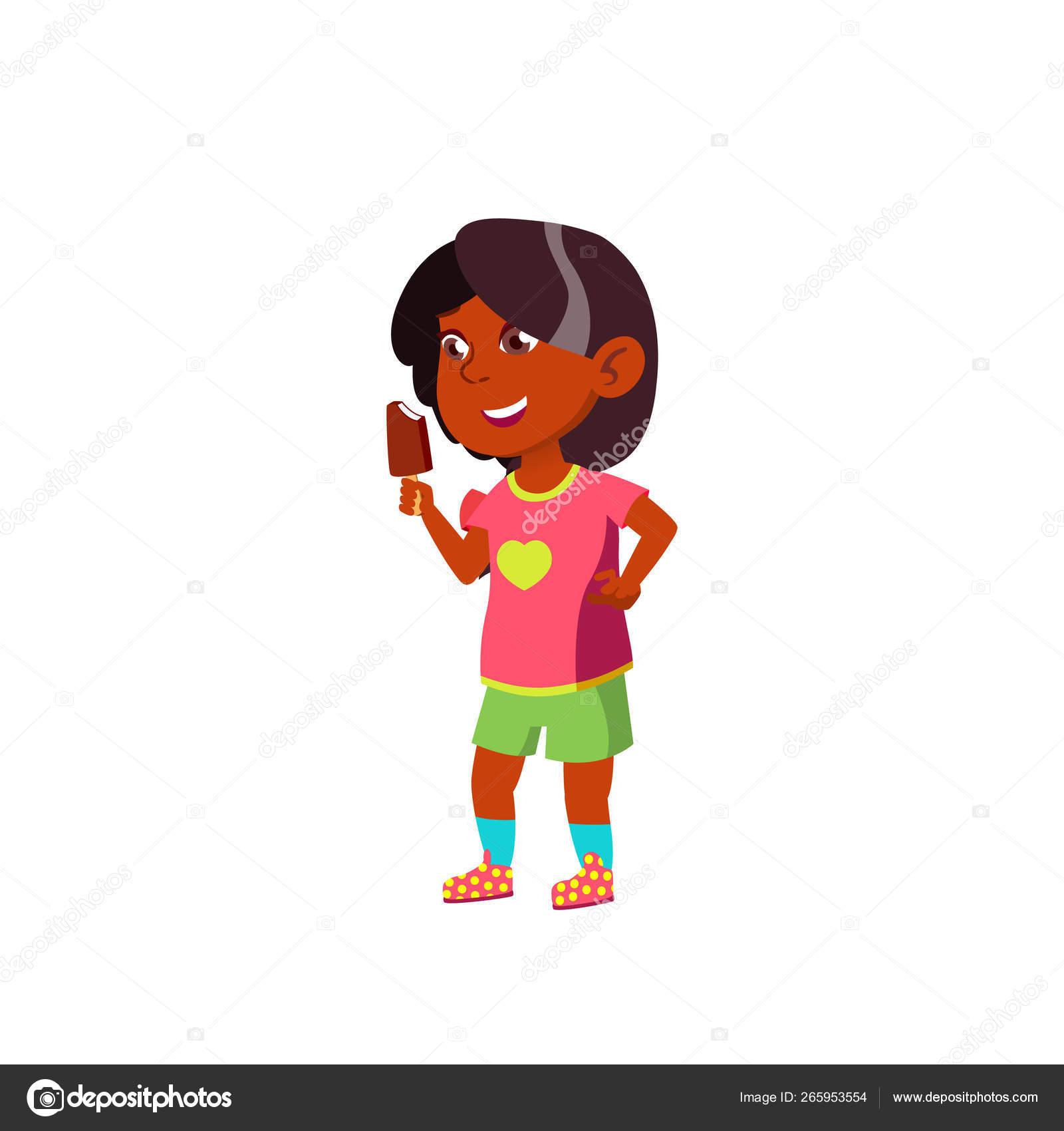 Indian Child Girl Cartoon Isolated Vector Illustration