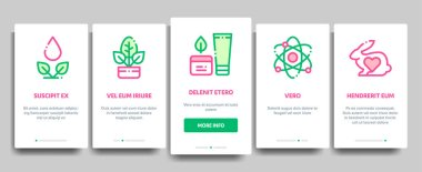 Organic Cosmetics Vector Onboarding Mobile App Page Screen. Organic Cosmetics, Natural Ingredient Linear Pictograms. Eco-friendly, Cruelty-free Product, Molecular Analysis, Scientific Illustration icon