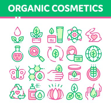 Organic Cosmetics Vector Thin Line Icons Set. Organic Cosmetics, Natural Ingredient Linear Pictograms. Eco-friendly, Cruelty-free Product, Molecular Analysis, Scientific Research Contour Illustrations icon
