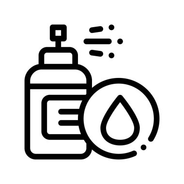 Spray Lotion Drop Cosmetic Vector Thin Line Icon. Organic Cosmetic, Natural Ingredient Linear Pictogram. Eco-friendly, Cruelty-free Product, Molecular Analysis Contour Illustration icon