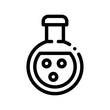 Flask With Chemical Liquid Vector Thin Line Icon. Organic Cosmetic, Laboratory Liquid Natural Component Linear Pictogram. Eco-friendly, Cruelty-free Product, Molecular Analysis Contour Illustration icon