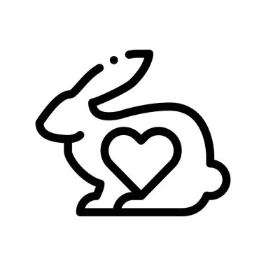 Animal Rabbit And Heart Vector Thin Line Icon. Testing Organic Cosmetic On Animal, Natural Component Linear Pictogram. Ecology, Cruelty-free Product, Molecular Analysis Contour Illustration icon