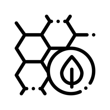 Cosmetic Ingredient Honey Vector Thin Line Icon. Organic Cosmetic, Natural Component Honeycomb Plant Leaf Linear Pictogram. Eco-friendly, Cruelty-free Product, Molecular Analysis Contour Illustration icon