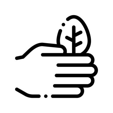Hand Care Wood Leaves Tree Vector Thin Line Icon. Organic Cosmetic, Natural Wood Component Linear Pictogram. Eco-friendly, Cruelty-free Product, Molecular Analysis Contour Illustration icon