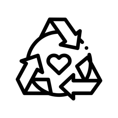 Healthy Organic Cosmetics Vector Thin Line Icon. Heart And Recycle Sign Organic Cosmetics, Natural Ingredient Linear Pictogram. Eco, Cruelty-free Product, Molecular Analysis Contour Illustration icon