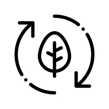 Forest Leaves Tree Arrows Vector Thin Line Icon. Organic Cosmetic, Natural Forest Component Linear Pictogram. Eco-friendly, Cruelty-free Product, Molecular Analysis Contour Illustration icon