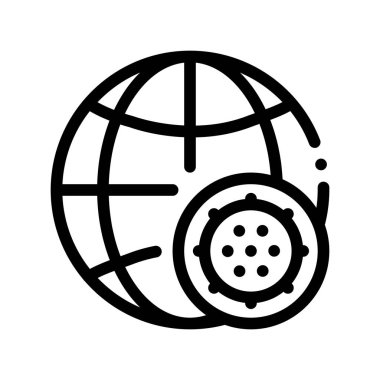 Microscopic Bacterium And Planet Vector Sign Icon Thin Line. Globe Universal Bacterium Linear Pictogram. Microbe Type Infection Biology Microorganism Contour Monochrome Illustration icon