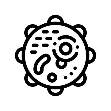 Microscopic Round Bacterium Vector Thin Line Icon Sign. Danger Pathogen Allergen Bacterium Linear Pictogram. Microbe Type Infection Biology Microorganism Contour Monochrome Illustration icon