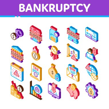 Bankruptcy Business Icons Set Vector. Isometric Bankruptcy Shop And Company, Closed Office And Store, Tax And Crisis, Broken Card And Piggy Illustrations icon
