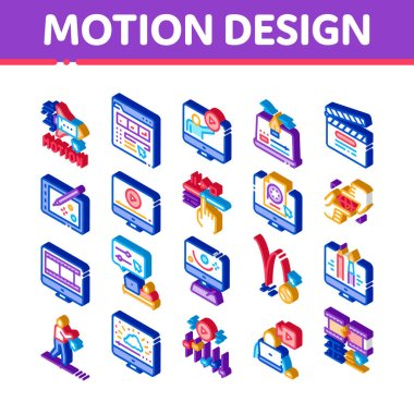 Motion Design Studio Icons Set Vector. Isometric Movie Motion Redactor Programme On Computer Screen And Video Player, Filmstrip And Clipboard Illustrations icon