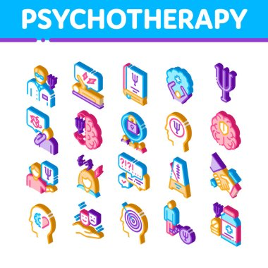 Psychotherapy Help Icons Set Vector. Isometric Handshake And Brain, Psychotherapist And Patient, Psychotherapy Treatment Illustrations icon