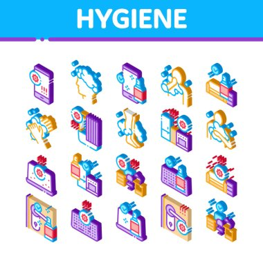 Hygiene And Healthcare Icons Set Vector. Isometric Cleaning Mobile Phone And Handle Sanitized Antiseptic, Wash Hand, Head And Body Hygiene Illustrations icon