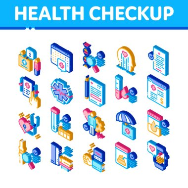 Health Checkup Medical Icons Set Vector. Isometric Healthcare Checkup List And Calendar Date, Fitness Tracker And Analysis Container Illustrations icon