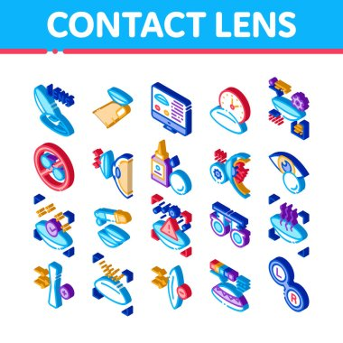 Contact Lens Accessory Icons Set Vector. Isometric Contact Lens On Finger, Eyedropper With Liquid, Eye Tool Information On Computer Screen Illustrations icon