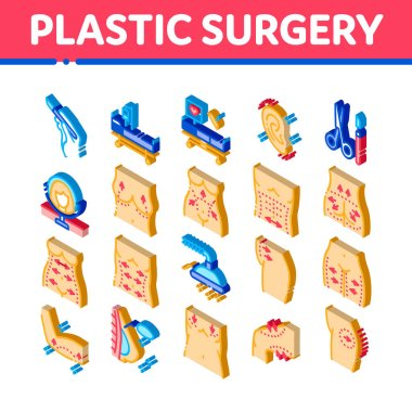 Plastic Surgery Clinic Icons Set Vector. Isometric Scissors And Scalpel Doctor Instrument, Breast And Abdomen Tightening Plastic Surgery Illustrations icon