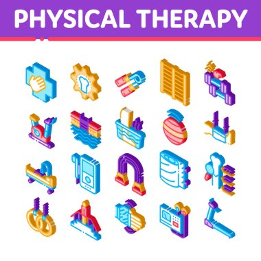 Physical Therapy And Recovery Icons Set Vector. Isometric Treadmill And Exercise Bike, Dumbbells And Ball Equipment For Physical Therapy Illustrations icon