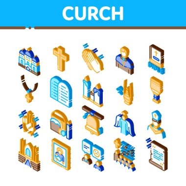 Church Christianity Icons Set Vector. Isometric Church Building And Interior, Christian Religion Bible And Cross, Candles And Bell Illustrations icon