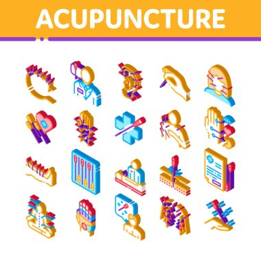 Acupuncture Therapy Icons Set Vector. Isometric Human Head And Hand, Ear, Face And Body Acupuncture, Doctor And Patient, Needles Tool Illustrations icon