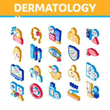 Dermatology Skin Care Icons Set Vector. Isometric Dermatology Rash On Hands And Head, Lips And Leg, Body Protection Cosmetic Cream Illustrations icon