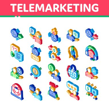 Telemarketing Sale Icons Set Vector. Isometric Telemarketing Help And Information Research, Calling Operator And Customer Illustrations icon