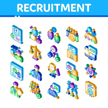 Recruitment And Research Employee Icons Set Vector. Isometric Curriculum Vitae Cv And Professional Career, Interview And Recruitment Illustrations icon