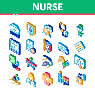 Nurse Medical Aid Icons Set Vector. Isometric Nurse Hat And Stethoscope, Pulse Cardiogram And Patch, Suturing Wounds And Inhaler Illustrations icon