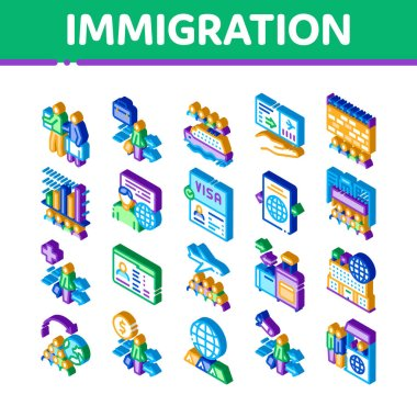 Immigration Refugee Icons Set Vector. Isometric Immigration Person With Baggage, Passport And Visa, Cruise Liner Voyage And Airplane Illustrations icon