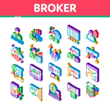 Broker Advice Business Icons Set Vector. Isometric Broker Businessman And Consultant, Sell And Buy, Professional Estate Agent Illustrations icon