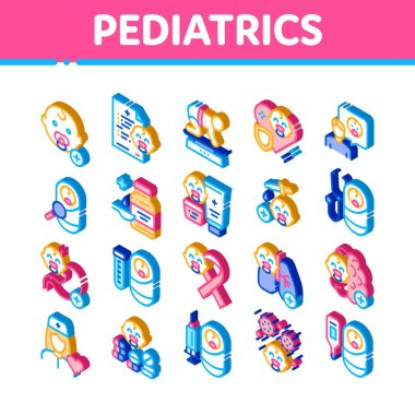 Pediatrics Medical Icons Set Vector. Isometric Child And Pediactrics Nurse, Baby On Electronic Scale And Healthcare Cream Illustrations icon
