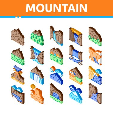Mountain Landscape Icons Set Vector. Isometric Forest And Camping On Mountain, Volcano And Cave, City Buildings And Bridge Illustrations icon