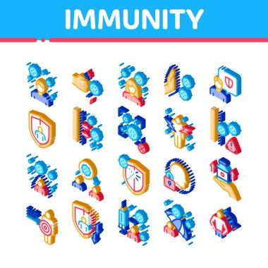 Immunity Human Biological Defense Icons Set Vector. Isometric Protective Bacterias, Syringe And Shield, Vitamin And Healthcare Pills For Immunity Illustrations icon