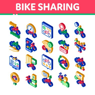 Bike Sharing Business Icons Set Vector. Isometric Bike Share Deal And Agreement, Web Site And Phone Application, Helmet And Bicycle Parking Illustrations icon