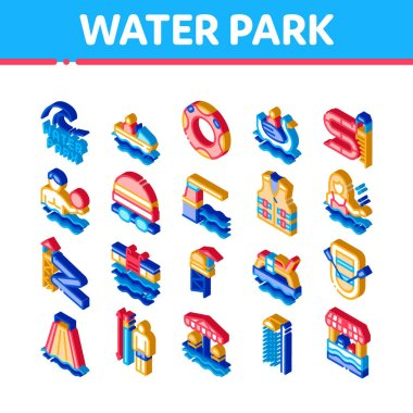 Water Park Attraction Icons Set Vector. Isometric Swimming Wear And Equipment, Life Jacket And Lifebuoy, Boat And Water Park Pool Illustrations icon