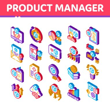 Product Manager Work Icons Set Vector. Isometric Product Manager Business Idea And Price, Web Site And Research, Checklist And Analysis Illustrations icon
