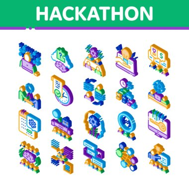 Hackathon Development Icons Set Vector. Isometric Hackathon Business, Developer Coding And Brainstorm, Meeting And Idea Illustrations icon
